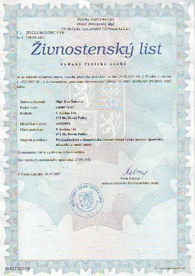 Živnostenský list: překladatelská a tlumočnická činnost, ES - DE - RU