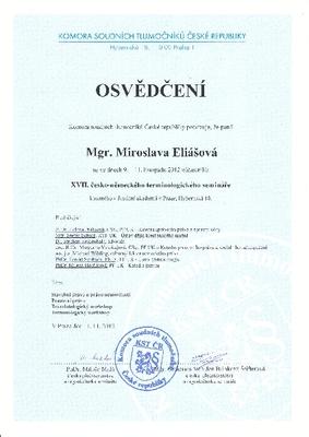 Osvědčení o účasti na XVII. česko-německém terminologickém semináři (Komora soudních tlumočníků ČR)