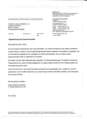Referenční dopis od společnosti Amazonen Werke H. Dreyer GmbH & Co. KG
