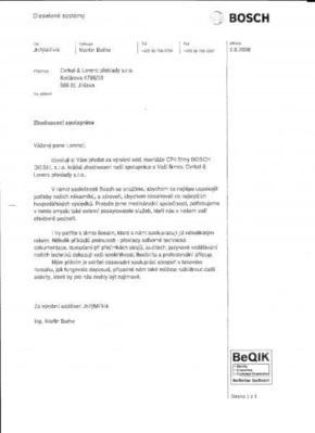 Referenční dopis od společnosti BOSCH DIESEL s.r.o.