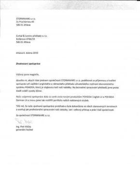 Referenční dopis od společnosti SUMITOMO ELECTRIC  Hartmetallfabrik GmbH, organizační složka