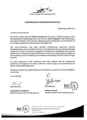 Potvrzení o praxi Modelová EU