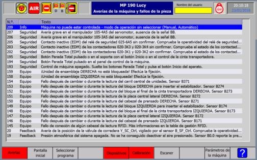 Ukázka překladu uživatelského rozhraní stroje - obrazovka monitoru do španělštiny